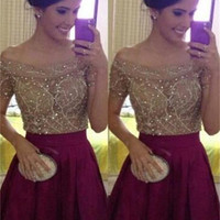 Elegant Off Shoulder Homecoming Dress with Beading