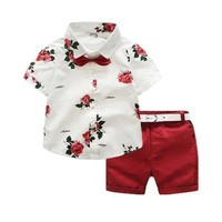 Floral Print Shirt + Shorts Children Clothing Set Baby Boy Summer Clothes