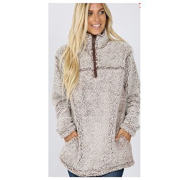 Soft Sherpa Half Zip Ice Mocha Pullover with Pockets