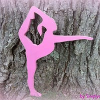 gymnast, gymnasts, wooden wall decor, girls room decor, door hanging, pink, gymnastics,