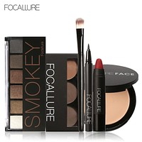 Focallure Makeup Set with 6colors/palette Eyeshadow Eyebrow Eyeliner Face Powder Matte Lipstick in one Makeup Kit