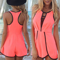 Neon Red Beach Romper