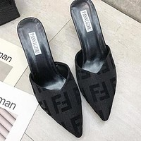 FENDI Hot Sale Women Stylish Pointed Sandal Slipper Shoes High Heel Black