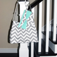 Girl or Boy Diaper Bag in Grey and White CHEVRON with MINT lining
