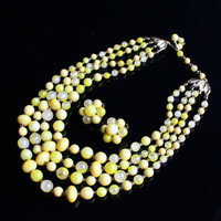 Vintage Yellow Beaded Necklace & Clip On Earring Set -  Gold Tone Demi Parure Retro Costume Jewelry / Four Strands