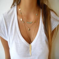 New Boho Simple Chain Gold/Silver Plated Tassels Turquoise Feather Pendant Multi Layer Necklace Fine Jewelry For Women
