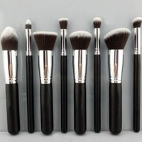 [Updated Version] BESTOPE Makeup Brushes Premium Cosmetics Brush Set Synthetic Kabuki Makeup Brush, Foundation, Blending Blush, Eyeliner, Face Powder Brush Kit(8PCs, Black Sliver)