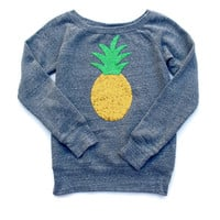 Sequin Pineapple Wide Neck Slouchy Sweatshirt Jumper also Available in White or Black