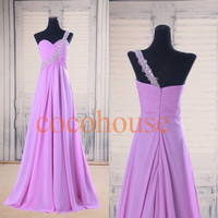 One Shoulder Beaded Long Prom Dresses Bridesmaid Dresses Hot Homecoming Dresses Evening Dresses Wedding Party Dresses Formal Dresses