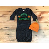 First Halloween - Pumpkin Patch Gown - Halloween Baby Clothes