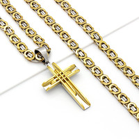 Mens Stainless Steel Silver Gold Byzantine Chain Link Necklace Cross Pendant