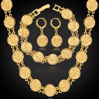 Arabic Engraved Coin Necklace Bracelet and Earrings Set