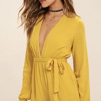 Outspoken Golden Yellow Long Sleeve Romper