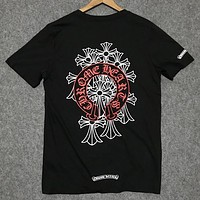 Chrome hearts 2019 new street fashion cross print round neck shirt T-shirt Black