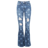 Midnight Sky Star Bell Bottom Pants Ripped Flare Jeans