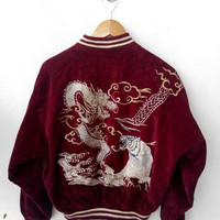 CLEARANCE SALE 25% 80's JAPAN Vintage Dragon Head Tiger Sukajan Embroidery Souvenirs Japanese Bomber Red Maroon Velvet Jacket