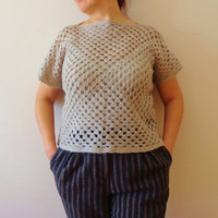 Crochet Wool Sweater, Gift for Her, Organic Sweater.