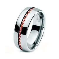 Mens Tungsten Carbide Wedding Band Ring 8mm 5-15 Sizes Braided Rose Gold .925 Sterling Silver Inlay High Polish Comfort Fit Custom Engraved