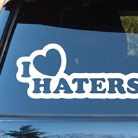 I Heart Haters Car Window Windshield Lettering Decal Sticker Decals Stickers Drift DUB VW Stance Audi Lowered