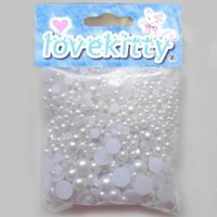 500 pcs White Mixed Sizes Flat back Pearl Cabochon by Lovekitty [Office Product]