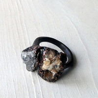 Ring Druzy Copper Geode Agate Gem Stone Frost by MidwestAlchemy