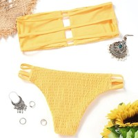 Smocked Bikini Bandeau Strapless High Cut Bikini Swimwear Women 2018 Push Up Bathing Suit Beach Wear Brazilian Swimsuit