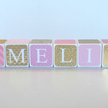 Custom Baby Name Baby Blocks Nursery Baby Shower Gift