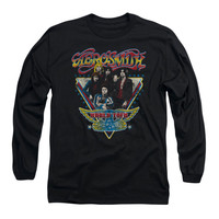 Aerosmith Men's  Triangle Stars  Long Sleeve Black Rockabilia