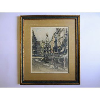 Robert Kasimir Vienna Graben Etching Pencil Signed Titled Architectural Drawing