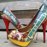 Tony Stark - Iron Man Red and Yellow Comic Book High Heels - Marvel - Geekery