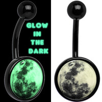 Glow in the Dark Titanium Moon Belly Ring | Body Candy Body Jewelry