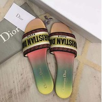 Dior Logo canvas slippers