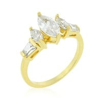 Burke Marquise and Baguette Engagement Ring | 2.5 Carat | 18k Gold | Cubic Zirconia