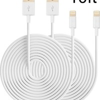 Eaglewood (TM) 2PCs 10ft Extended Extra Long 8 Pin to USB Sync and Charging Cable Charger Power Cord for iPhone 6/ 6 Plus, iPhone 5/ 5s/ 5c, iPod Touch 5th, Nano 7th, and iPad 4 Air Mini-Compatible with IOS 8 (White)