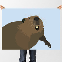 Beaver Print, Printable Nursery Wall Art, Cheeky Beaver Poster, Instant Download, Canadian Nature Illustration, Childrens Art, Nursery Decor