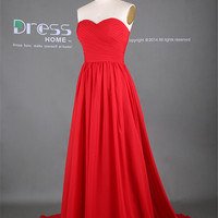 Hot Sale 2014 Red Sweetheart Neckline A Line Long Bridesmaid Dress/Red Long Floor Length Prom Dress/Wedding Party Dress/Maid of Honor DH291