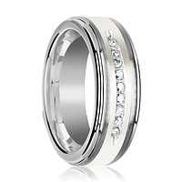 Tungsten Men's Wedding Band With Raised Center White Silver Inlay and 9 Channel Set White Diamonds