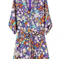 Purple Floral Print Back Zipper Romper