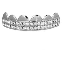 Top Silver Tone 2 Row Clear Cz Bling Removeable Mouth Grillz