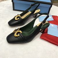 Gucci Women's Leather Mid-heeled Sandals