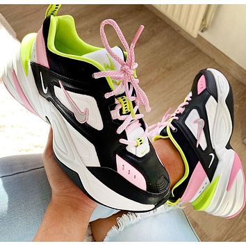 NIKE M2K TEKNO Black and White Pink Sneakers Daddy Shoes