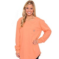 Kimmy Boatneck Long Sleeve Tee in Papaya Orange by The Southern Shirt Co.