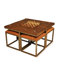 Low Game Table with Four Stools (5 PC)