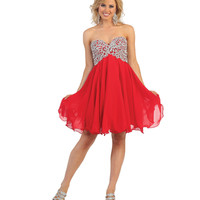 Red Short Strapless Sequin Sweetheart Dress 2015