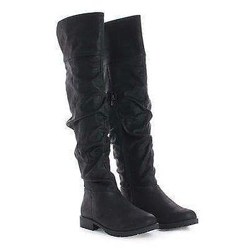 Monterey06 By Bamboo, Over Knee Slouchy Round Toe Riding Boots