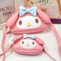 New My Melody Hello Kitty Anime Toys Cartoon melody pu Handbag Children's Shoulder Bag For Girls Handbag Shopping Bag Lover Gift