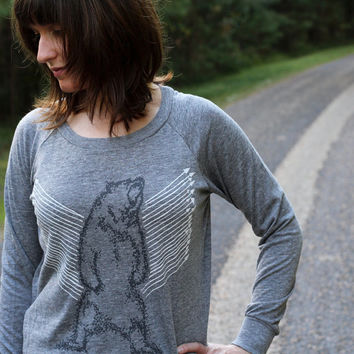 Grizzly bear shirt | lightweight slouchy pullover - heather gray top for women | gift for her - Ursa Major by Blackbird Tees