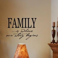 FAMILY IS WHERE OUR STORY BEGINS Vinyl Wall Decals Quotes Sayings Words Art D...