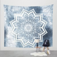 BLUEISH SEA FLOWER MANDALA Wall Tapestry by Nika