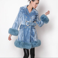 Vintage 60s Blue Velvet Coat with fur trim